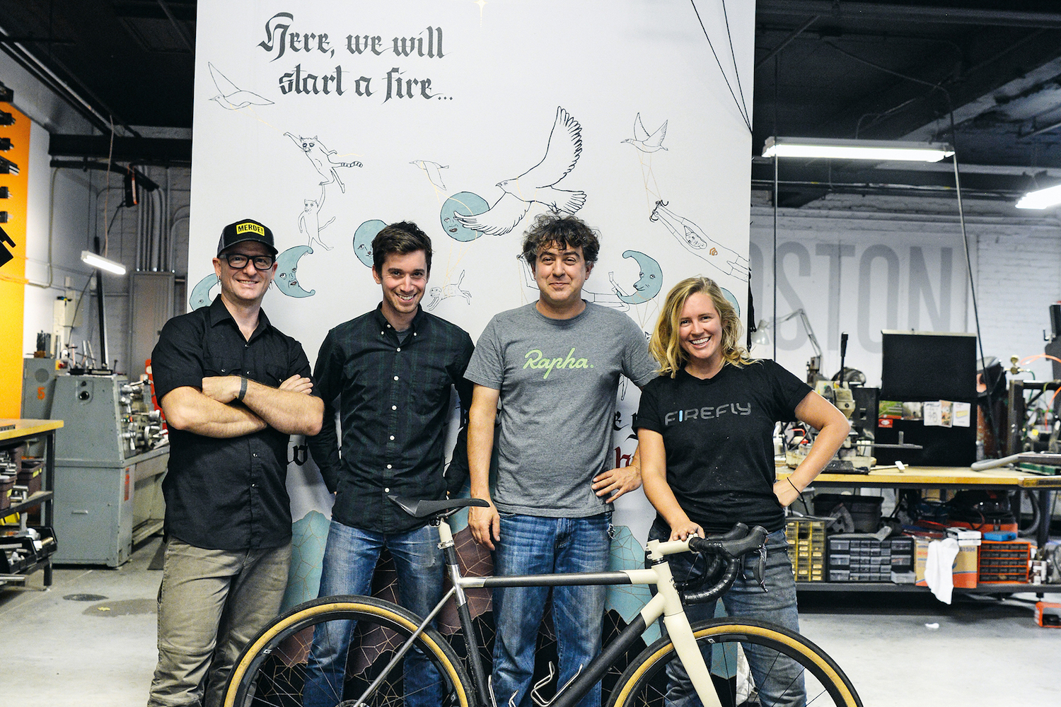 Tyler Evans, Kevin Wolfson, Jamie Medeiros and Ellen Bechtel are the minds behind Firefly Bicycles.