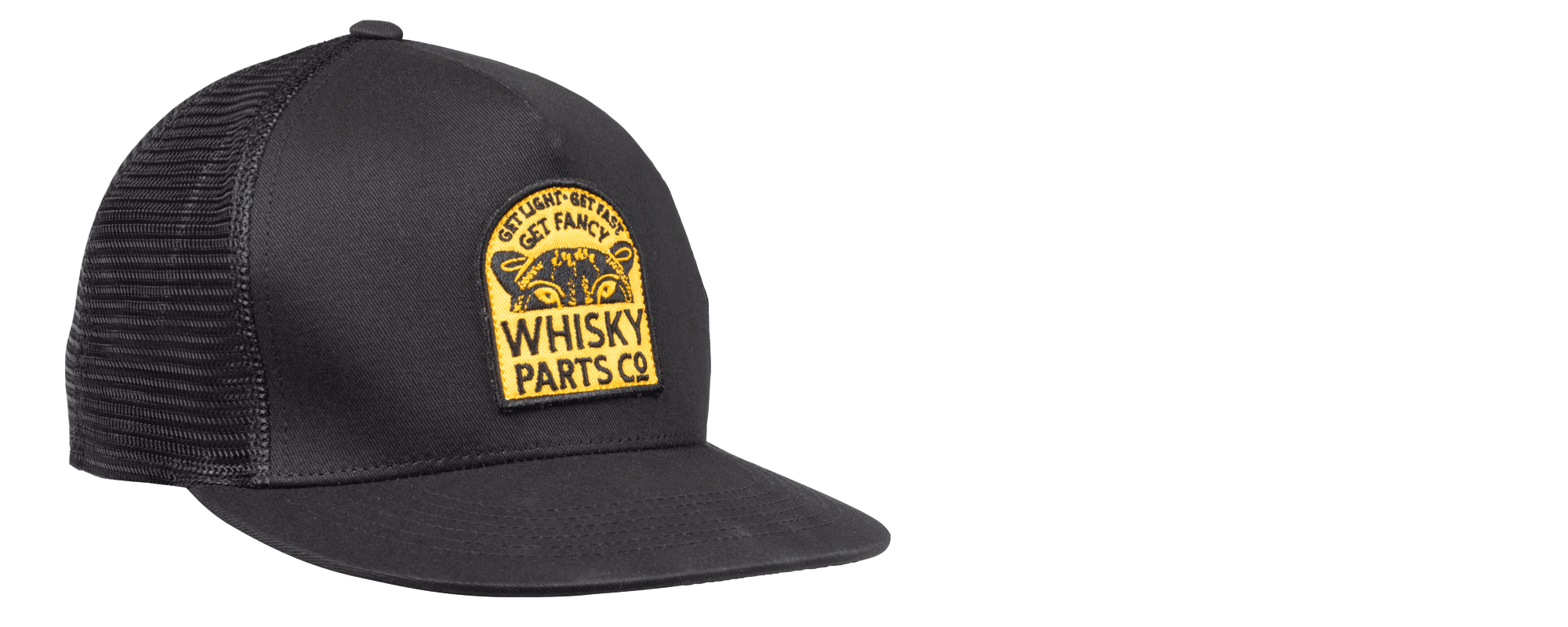 Whisky Parts Co Fancy Cat Coalition Hat - Black/Yellow - Front three-quarter view