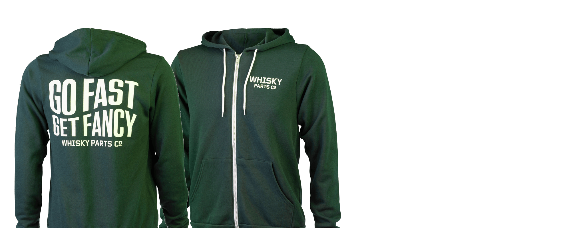 Whisky Parts Co Go Fast Get Fancy Hoodie - Green and White - Front and Back View