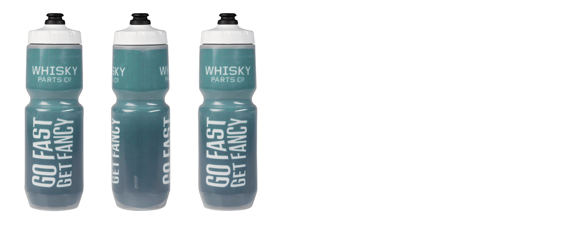 Whisky Go Fast Get Fancy Insulated Purist Water Bottle - Green and White - Multi-Side View