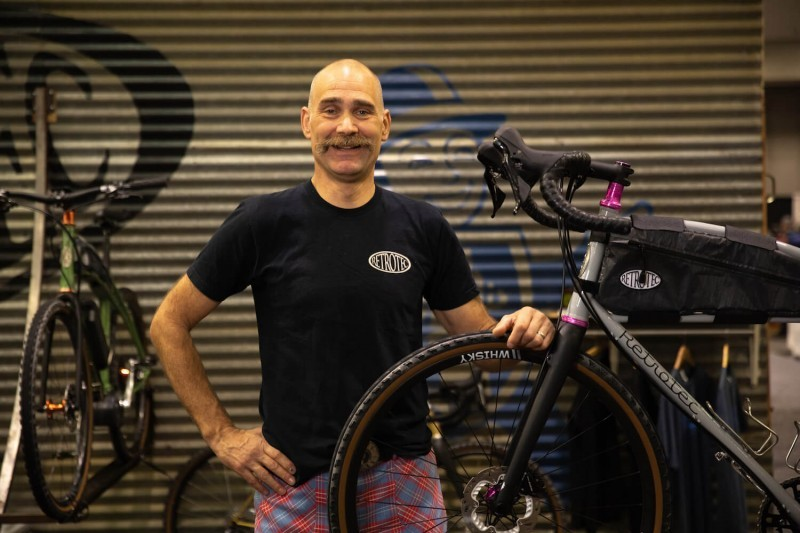 Curtis Inglis posing with his personal All-Road bike