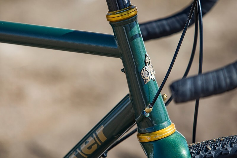Head tube detail on Rock Lobster custom gravel bike