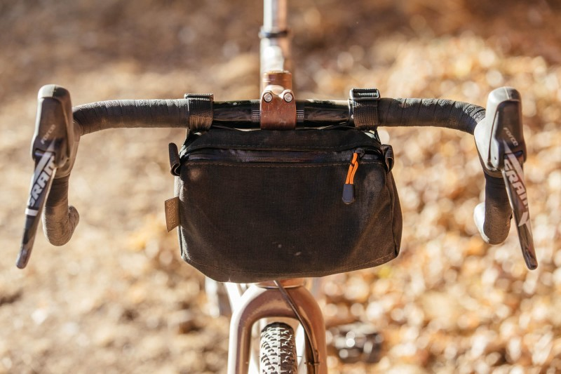 Detail of handlebar bag on Ti Firefly all road bike