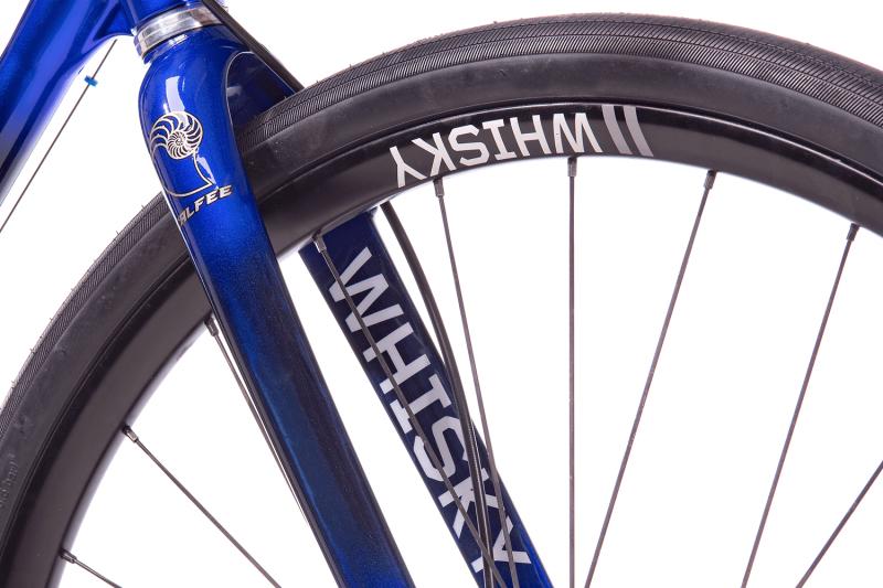 Whisky Select - Calfee Tetra Adventure Classic Bike - Closeup of Fork and front wheel