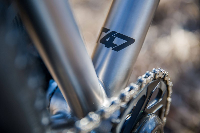 Downtube detail of Engine 29er rigid MTB