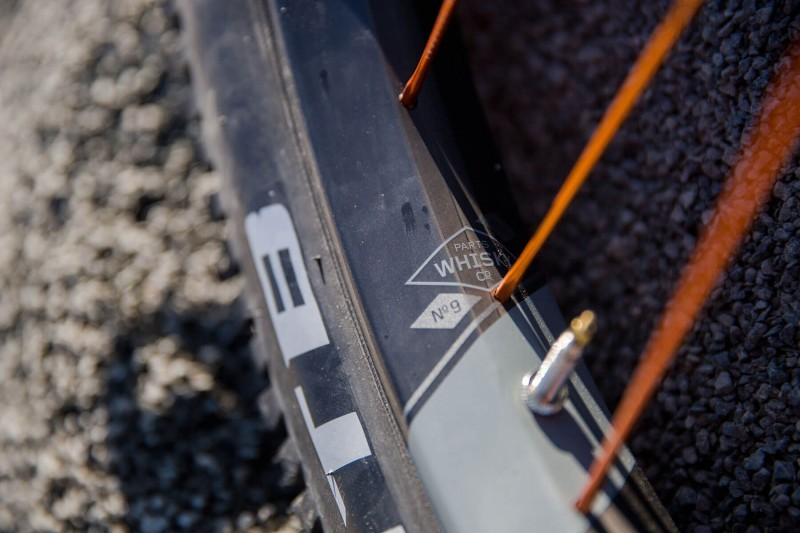 Whisky No. 9 50w rim detail on Kurt Barclay's 27.5+ Retrotec custom bike